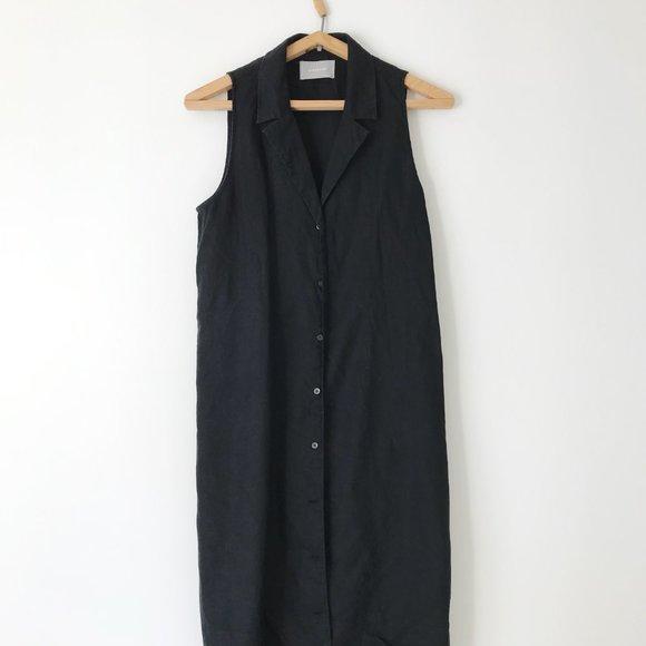 100% Linen Everlane Button-Up Midi Dress Size 8
